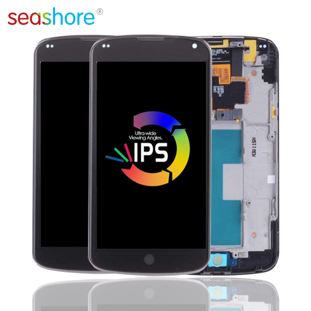 Где купить Оригинальный Для LG Google Nexus 4 E960 lcd кодирующий преобразователь сенсорного экрана в сборе для LG Nexus 4 дисплей с заменой рамки Mako E960