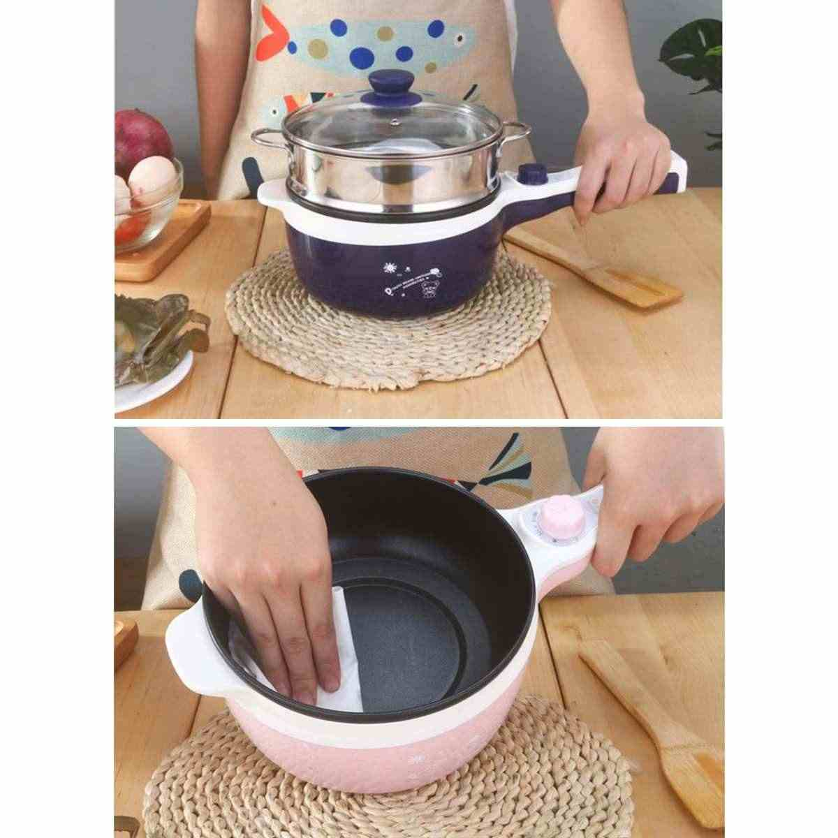 New 1.6L Electric Mini Rice Cooker MultiCookers Portable Rice Cooker 2 Layers Non-stick skillet Cooking pot Food Steamer+7 Gifts
