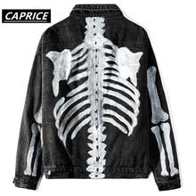 Graffiti Skeleton Bones Print Denim Jacket Streetwear Men Hip Hop Punk Rock Jean Coats Fashioin Casual Jackets