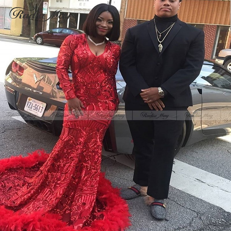 Sparkly Red Sequin Black Girl Feather Prom Dresses Long Sleeves Lace Mermaid Evening Dress 2K20 African V Neck Long Party Gowns