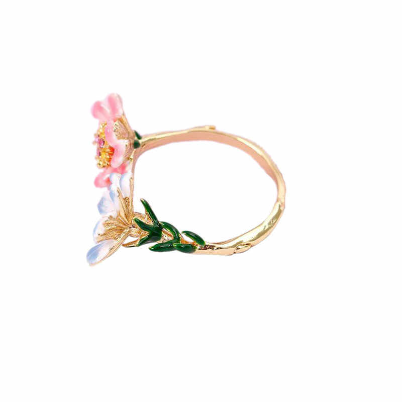 European and American fashion new enamel glaze two-color flower opening adjustable ring personalized diamond ring  women