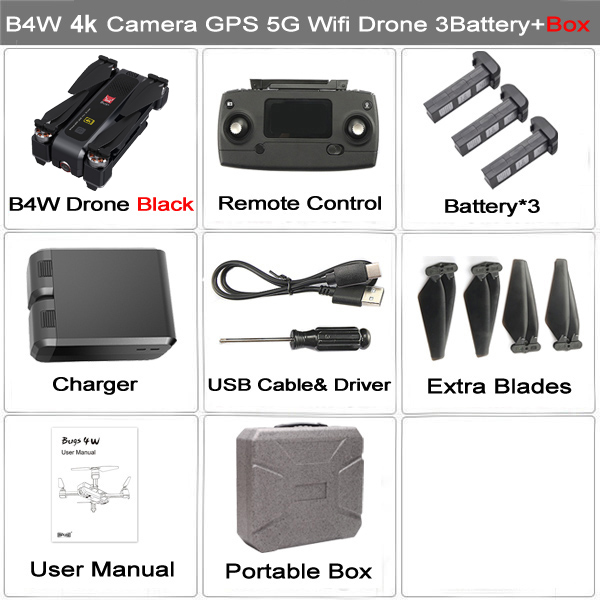 MJX Bugs 4W B4W Real 4K FHD Camera 5G WIFI GPS Brushless Foldable Drone Anti-shake 1.6KM 20 Minute Optical Flow RC Quadcopter