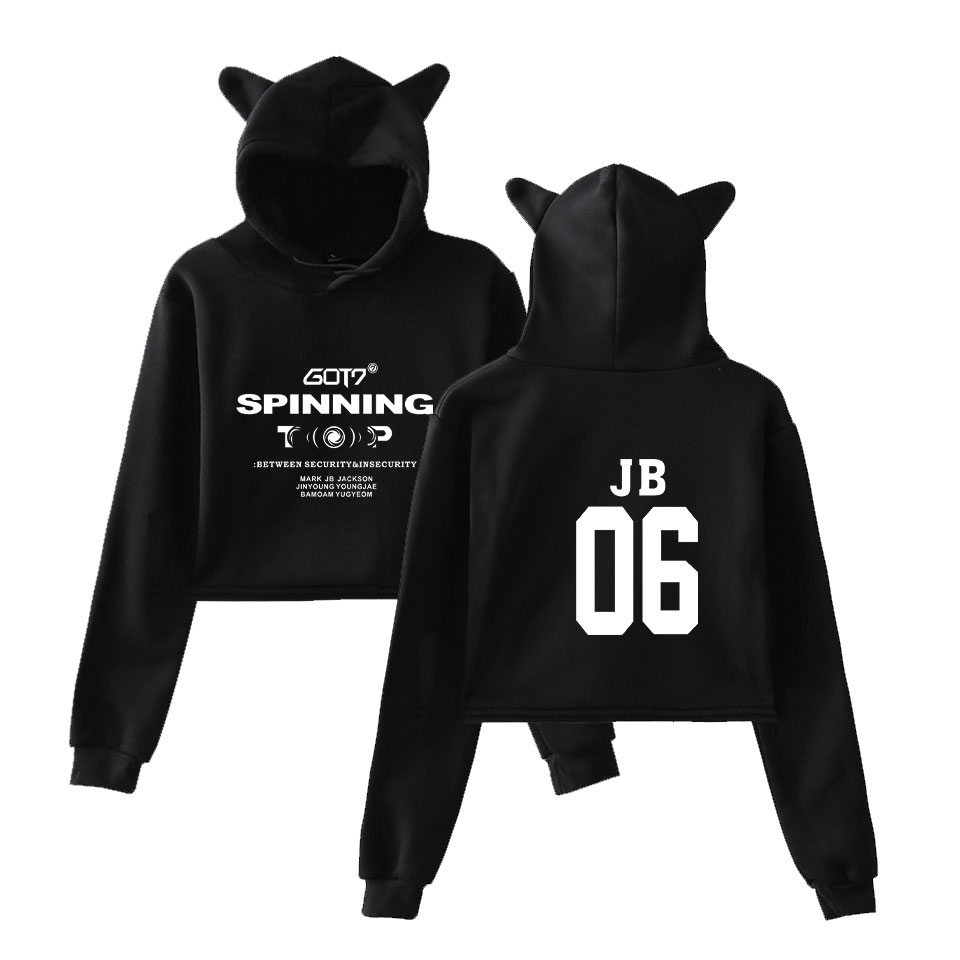 Kpop GOT7 hoodie Cotton Kawaii hoodies for girls Women's Fashion Pullover Short Shirt 2019 New <font><b>K</b></font> <font><b>pop</b></font> Cat Ears Sweatshirt image