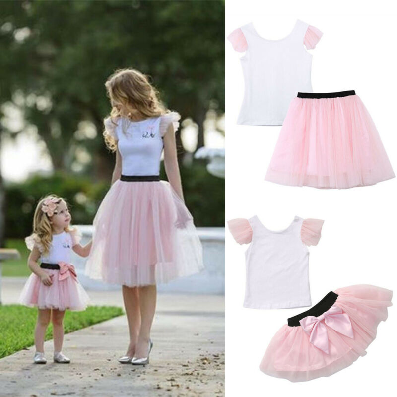 2pcs New Hot Sale Mom Daughter Clothes Women Girls Short Sleeve T-shirt Short Bow Knot Tutu Skirt Summer Matching Trendy Outfits