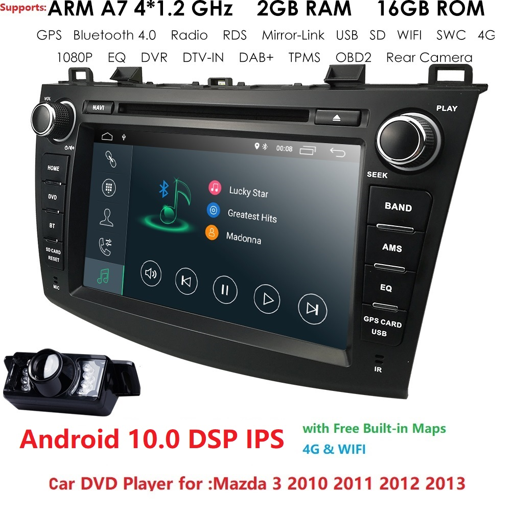 android10 8 inch in dash Head Unit double din Car DVD Player GPS Navigation stereo <font><b>Radio</b></font> CANbus for <font><b>Mazda</b></font> <font><b>3</b></font> <font><b>2010</b></font> 2011 2012 2013 image