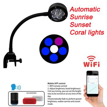 Oświetlenie LED do akwarium 18W woda morska światła WiFi Program oświetlenie morskie dla morska rafa koralowa ryba Nano zbiornik wschód słońca zachód słońca tanie i dobre opinie CN (pochodzenie) Klips