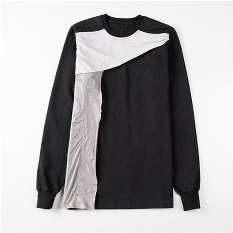2019ss Men 100% Cotton Women Full Sleeve Shirts Ro Tops Tees Owen Gothic Black High Street Patchwork Shirts Camisetas Hombre - 6