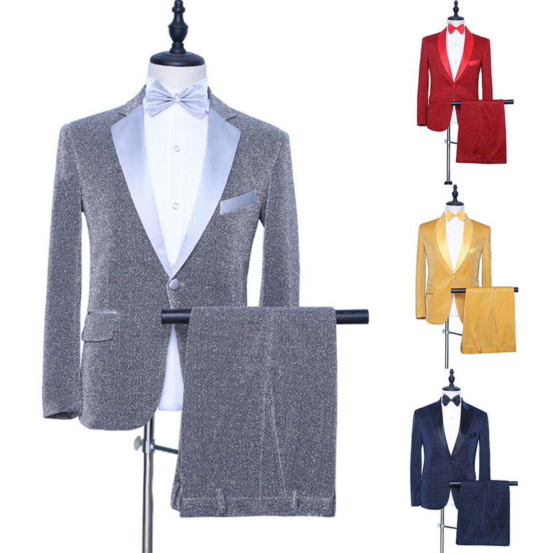Classic Suit Men 3pcs Coat+Pant+Tie British Stage Wedding Party Suits Terno Masculino Fashion Slim Fit Costume Homme No Shirt