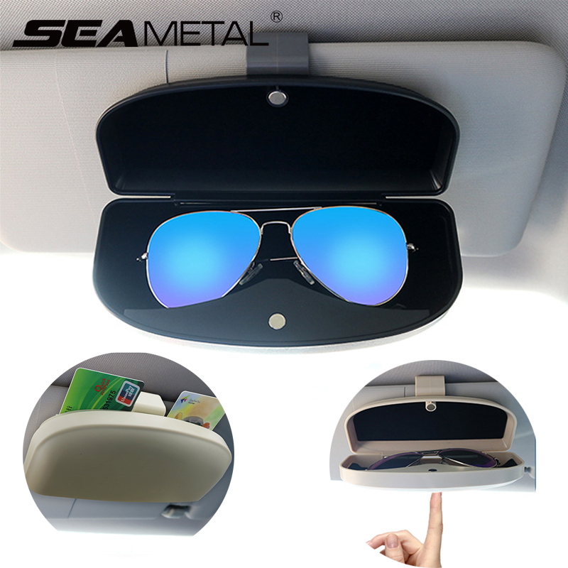 Eye Glasses Storage Box with Double Card Slots Car Sunglasses Organizer Mount General for All Car Models Black Number-One Car Visor Sunglass Case Holder Clip