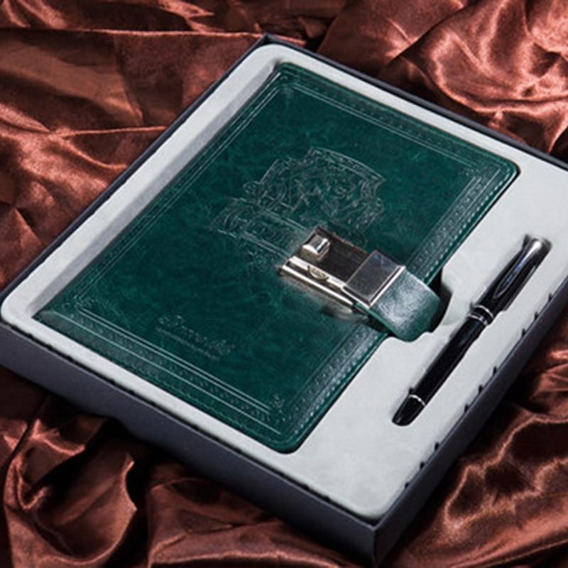 A5 rétro cahier série courageuse motif lion avec serrure mot de passe bloc-notes en cuir bureau réunion minutes papeterie journal boîte-cadeau