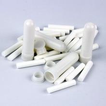 100 sztuk/zestaw pusty biały plastik puste nosa aromaterapia inhalatory rury kije z knotami do olejku nos nosowy pojemnik