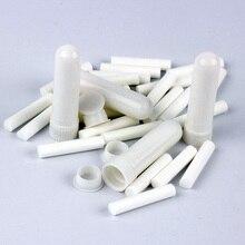 100 יח\סט ריק לבן פלסטיק ריק האף ארומתרפיה משאפים צינורות מקלות עם פתילות עבור חיוני שמן האף האף מיכל