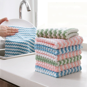 Double-sided Microfiber Cloth Kitchen Cleaning Cloth Home Absorbent Washing Polishing Cleaning Rags Lint Does Kitchen Towels image
