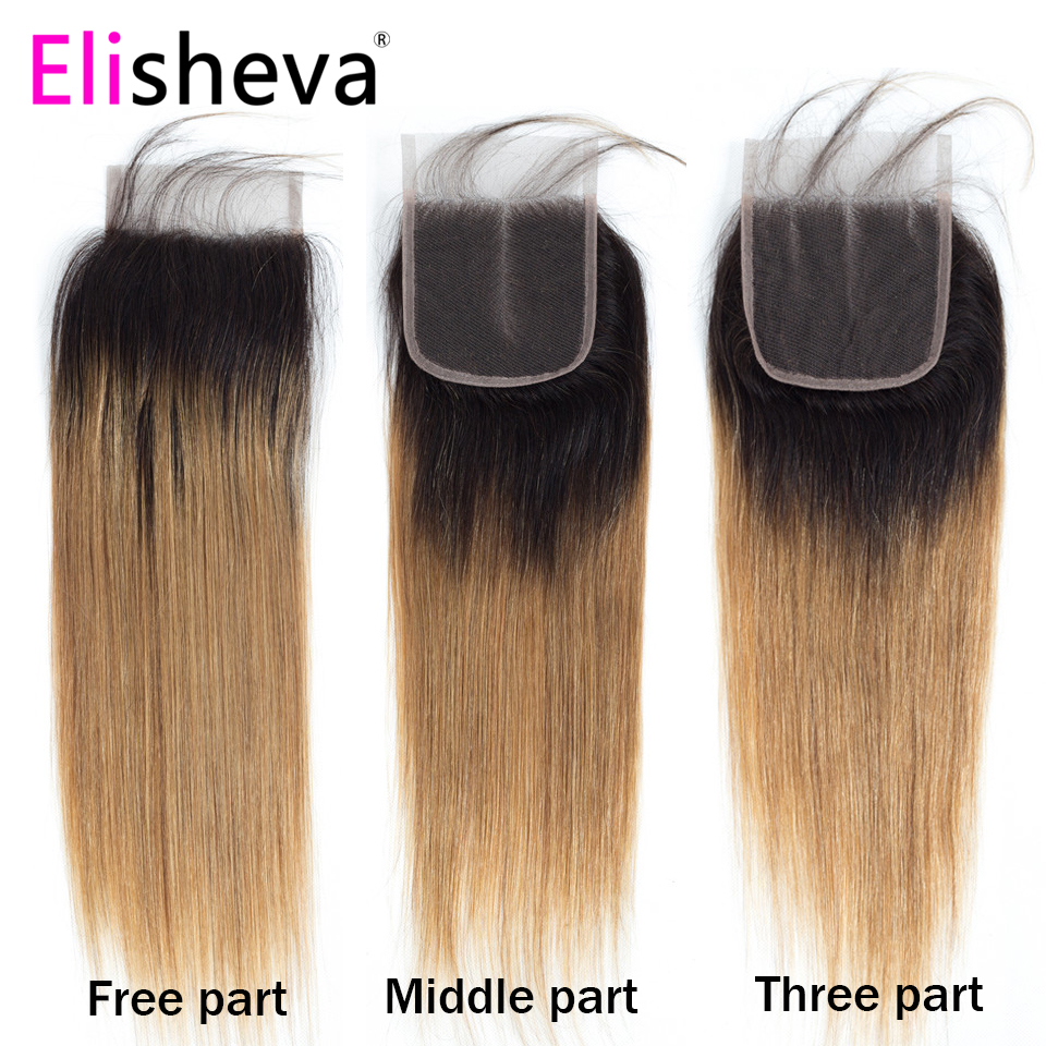 Ombre Straight Hair Bundles with Closure 4x4 Colored 1B 27 Honey Blonde 3 Bundles Remy Peruvian Human Hair Middle Free Part