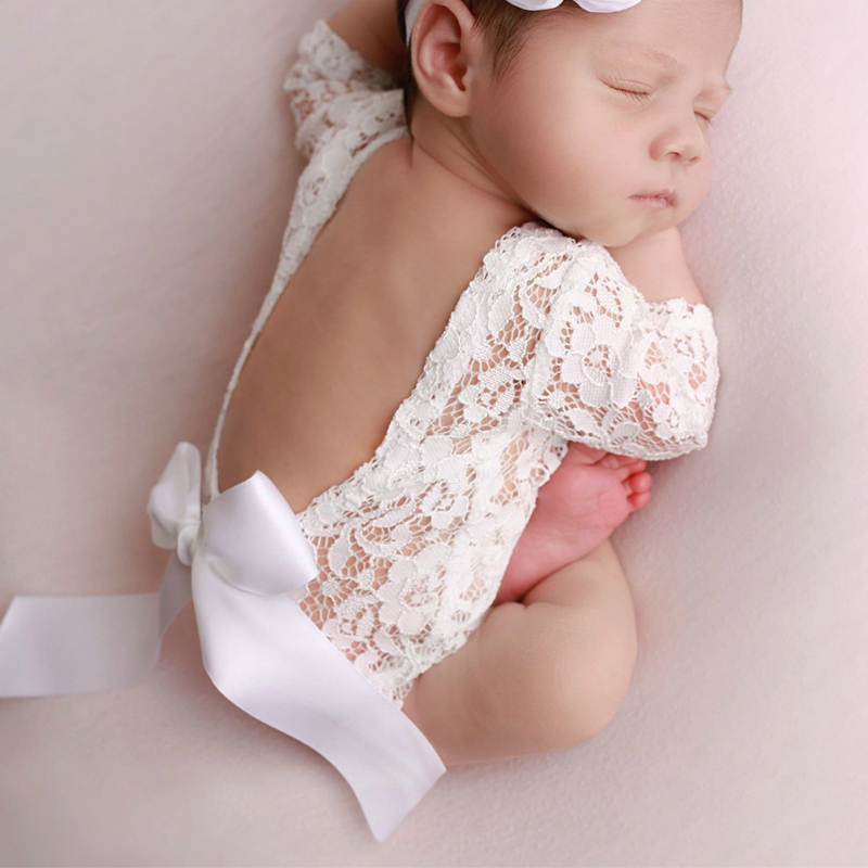 Newborn Photography Props Baby Girl Kids Bow Clothing Overalls Infant Playsuits Overalls Clothing Lace Romper Studio Shoot