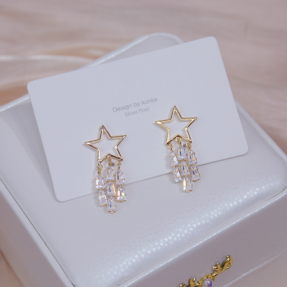 New Shine Tassel Crystal Star Women Stud Earring Hollow Out Zircon Earring Bohemia Wedding Fashion Jewelry