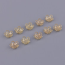 10Pcs Messing Filigrane Blume Perlen End Kappe Für Handwerk Schmuck, Der China Knoten Stil Perlen Ornamente(China)