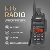 vhf uhf Talkie Walkie Waterproof 2pcs IP67 RT6 5/3 / 1W VOX רדיו FM SOS AlarmDual Band VHF UHF Ham Radio Handy שני הדרך רדיו RU (2)
