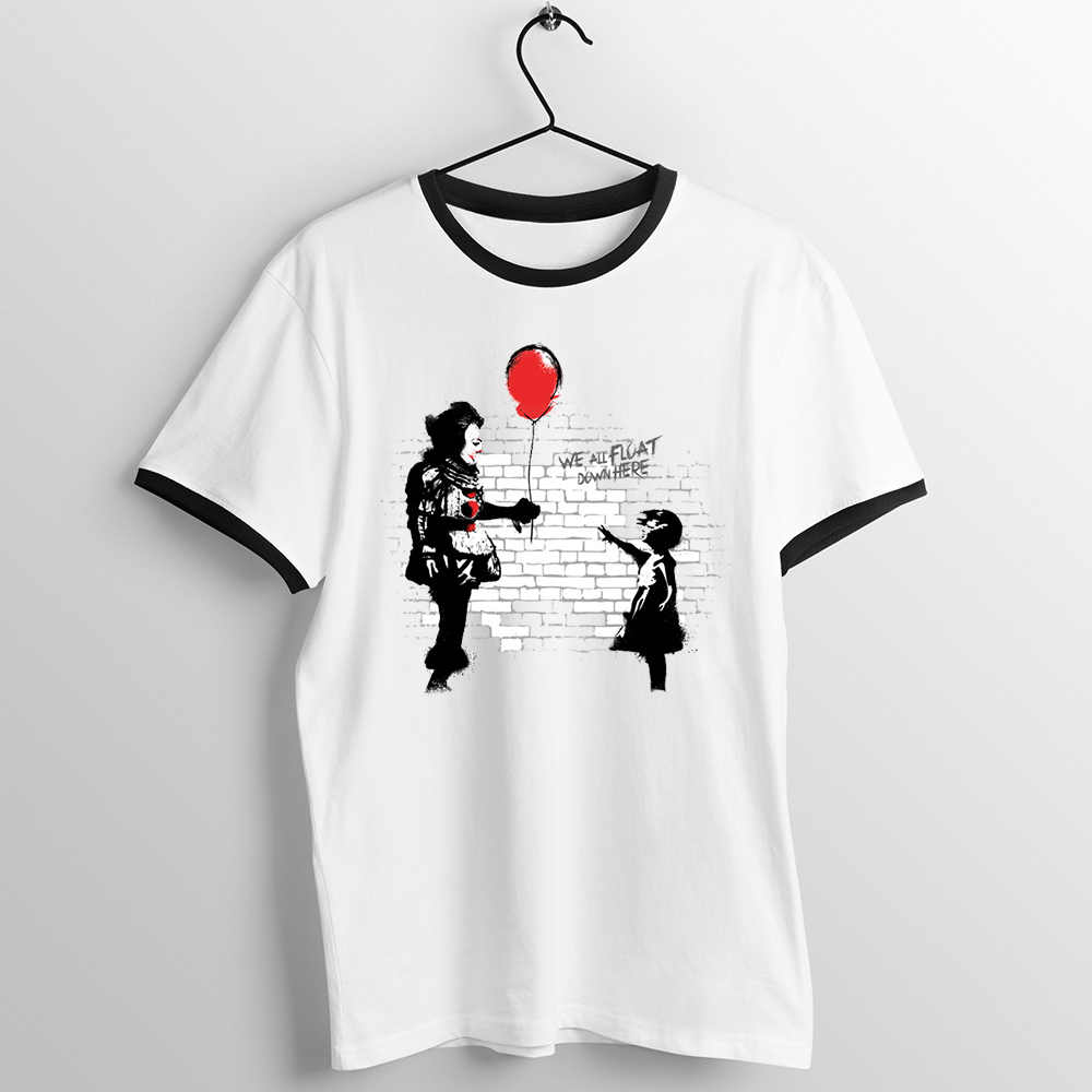 Black Trim T Shirt Unisex Pennywise The Girl with The Red Balloon It Clown Horror Villain Halloween pinhead jigsaw Nightmare Tee