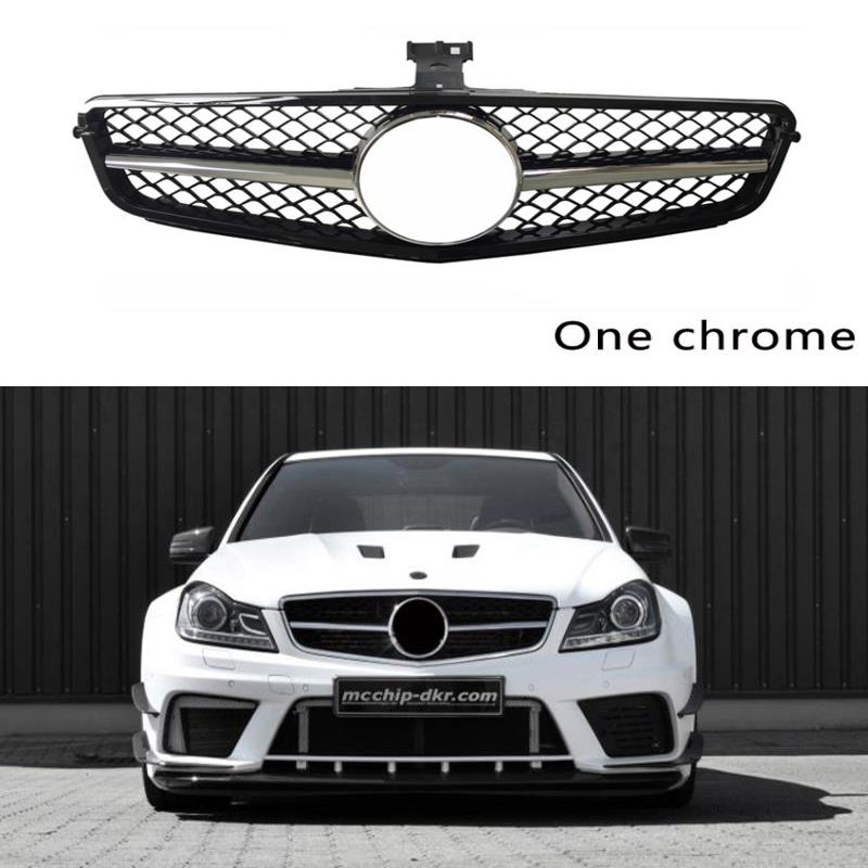1Pcs Auto Front <font><b>Grill</b></font> ABS Decoration for Mercedes <font><b>Benz</b></font> <font><b>W204</b></font> Grille C Class C63 2008-2014 C180 C250 C300 C200 Car Accessories image