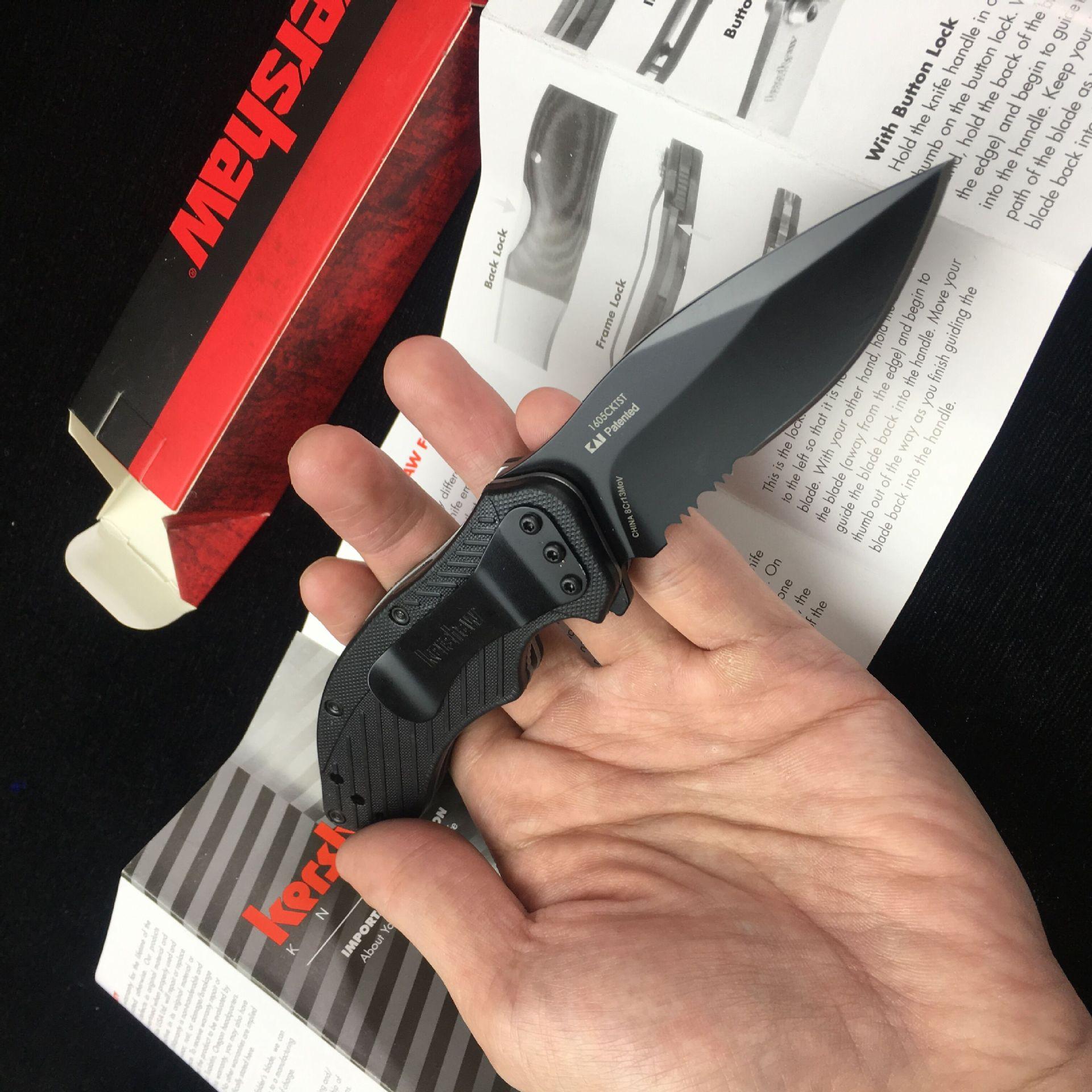 K 1605 Folding Pocket Outdoor Camping Hunt Knife 8CR13MOV Blade G10 Handle Tactical Survival Utility Fruit Knives EDC Tool