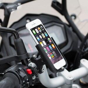 Image 2 - אלומיניום אופנוע הרי אופניים מחזיק טלפון סטנד מתכוונן Moto כידון Rearview מראה 4 6.5 אינץ נייד הר