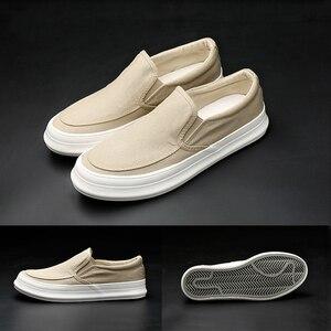 Image 5 - Кроссовки Monstceler мужские холщовые, повседневная обувь, без шнуровки, толстая плоская подошва, роскошная Вулканизированная подошва, весна осень