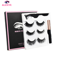 3d 25mm Long Mink Eye Lashes Magnetic False Eyelashes And Eyeliner Set Natural Fake Eyelash