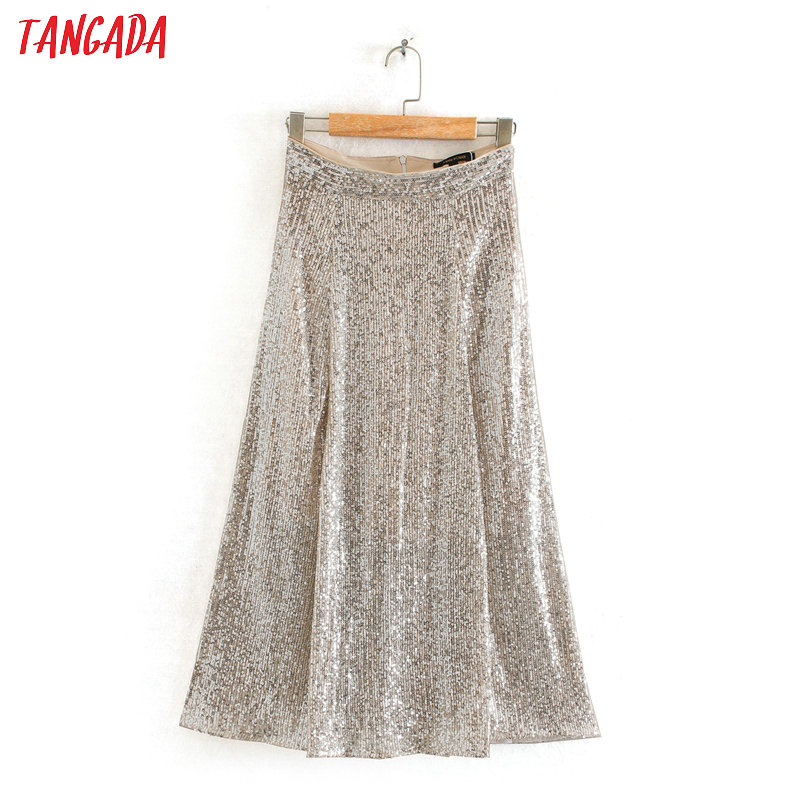 Tangada Women Sequined A-line Midi Skirt Faldas Mujer Vintage Side Zipper Ladies Elegant Chic Party Skirts 2XN09