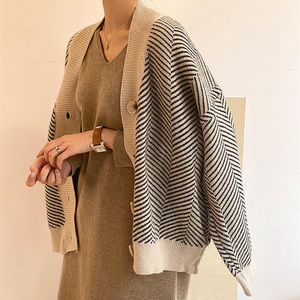 Полосатый вязаный кардиган большого размера в Корейском стиле для женщин, женский длинный кардиган, свитер Sueter Mujer Invierno 2020, осенний винтажны...