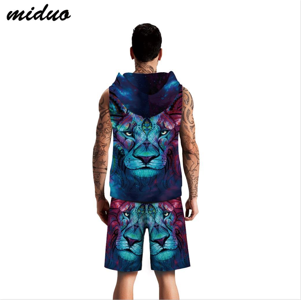 2019 Summer Hot Selling Lion Avatar Digital Printing Vest Shorts Set MEN'S Wear Large Size