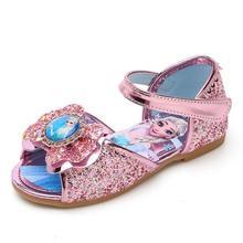 Sandals Flat-Shoes Frozen Elsa Baby-Girls Princess Cartoon Summer Disney with Bow Sequin