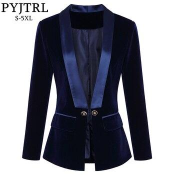 PYJTRL Women Autumn Winter Blazers and Jackets Fashion Shawl Lapel Slim Velvet Suit Jacket Coat Blazer Feminino