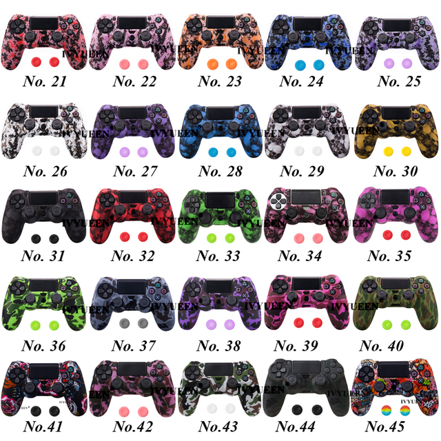 IVYUEEN 44 Colors Silicone Camo Protective Skin Case For Sony Dualshock 4 PS4 DS4 Pro Slim Controller Thumb Grips Joystick Caps 2