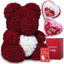 40cm rose teddy bear flower artificial handmade eternal rose bear valentine's day anniversary bridal baptism wedding mother's da