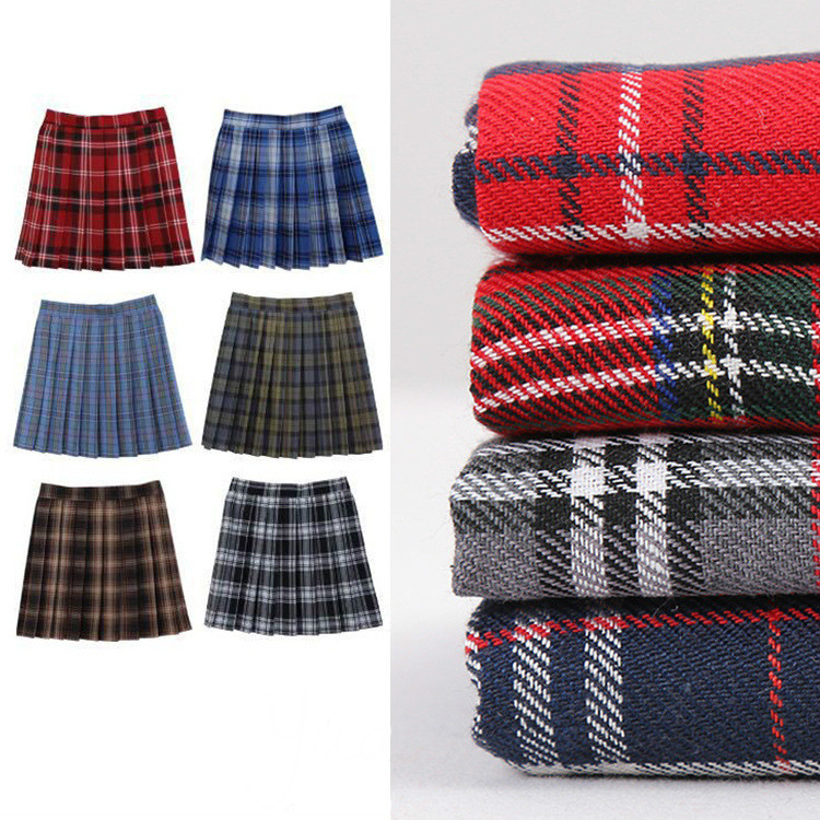 Plaid doux Plaid Jacquard tissu jupe chemise gris tissu rouge, au mètre