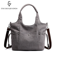 цена SCV New Women Handbags Crossbody Canvas Bag for Woman Big Travel Bag Ladies Shoulder Tote Female Handbag Designer Messenger Bags онлайн в 2017 году