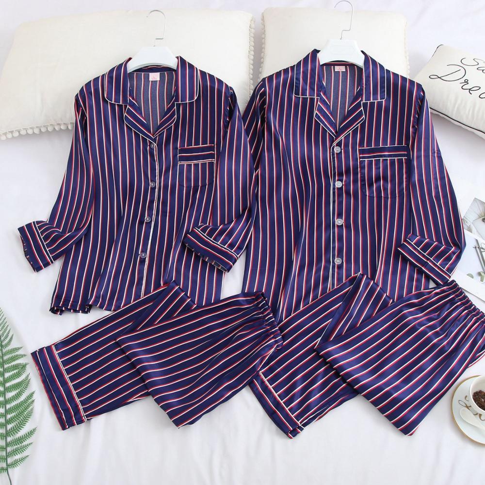 FZSLCYIYI Couple Pajama Sets Silk Satin Pijamas Striped Sleepwear Home Suit Pyjama For Lover Man Woman Lovers' Clothes M-3XL