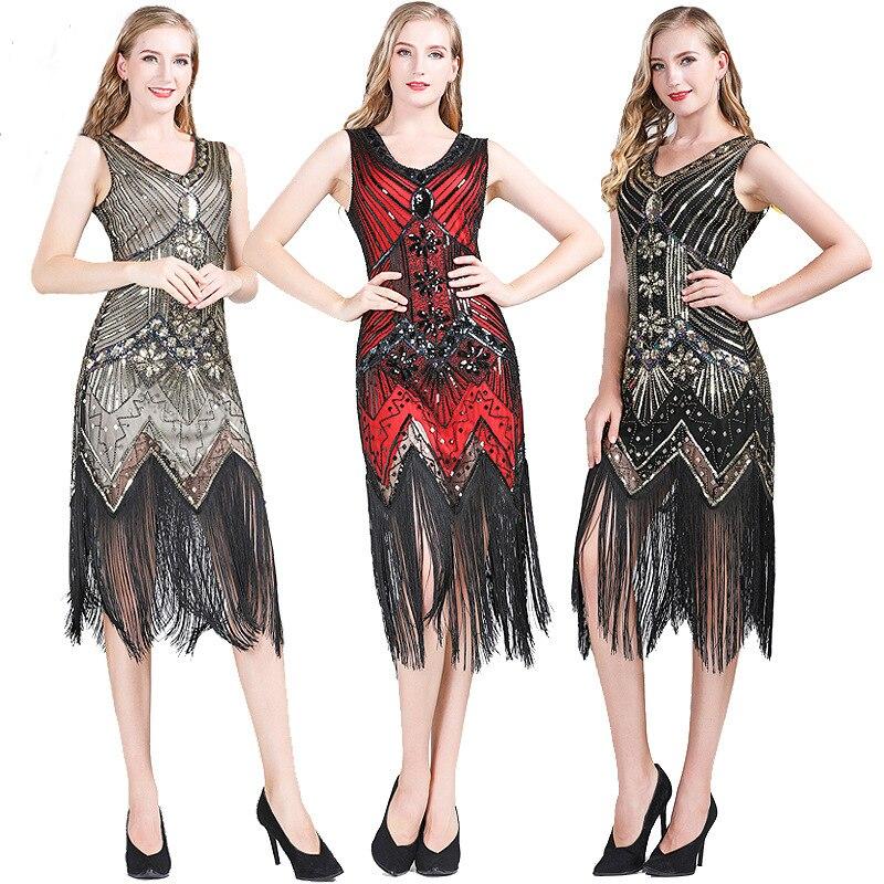 Fringe Flapper Costume 20s Gatsby Charleston Donna Costume Vestito