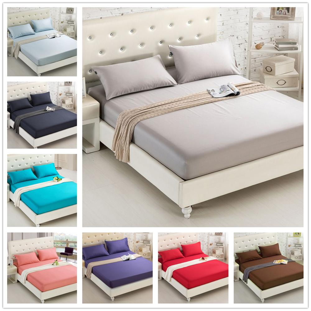 Pure Color Mattress Cover Bed Sheet Sanded Bed Cover Linen Bed Sheet with Elastic Band Queen