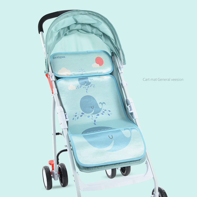 Baby Stroller Rayon Seat Cushion + Pillow , children's universal summer umbrella car seat ice silk pad,Baby car seat accessories
