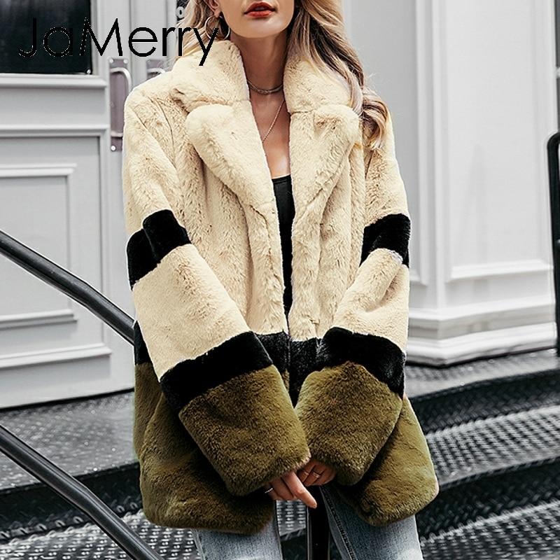 JaMerry Vintage elegant shaggy women fur coat Office autumn winter female fur jacket Luxurious lapel stitching chic warm outwear