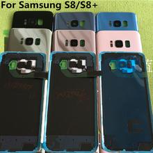 Vidro original para samsung galaxy s8 plus g950f g955f, tampa da bateria traseira da porta, carcaça de substituição + adesivo sticke