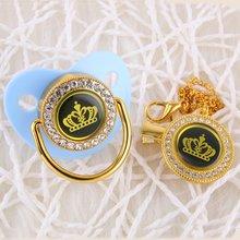 Блестящие хрустальные стразы синий цвет корона соска и цепочка
