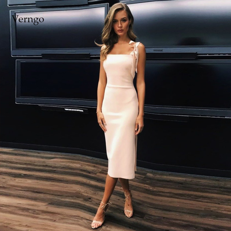 Verngo Simple Evening Dress Short Formal Dress Party Gown Ivory Prom Dresses Valentine's Day Gowns  Evening Dress 2019