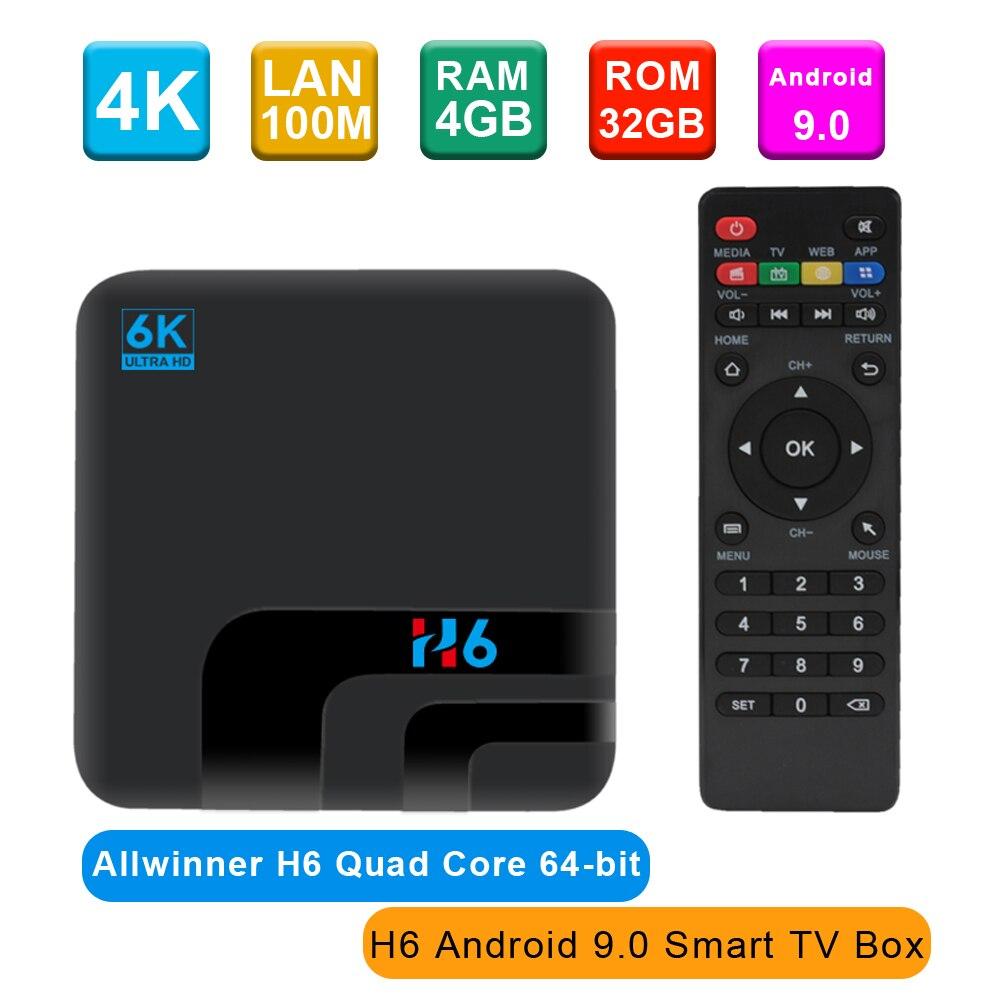 US $33.47 28% СКИДКА|ТВ приставка H6, Android 9,0, 4 ГБ/32 ГБ, 2,4G, WiFi, телеприставка, Allwinner H6 UHD 4 K, медиаплеер 6K HDR 100 M, USB3.0, H.265 VP9, 2019|ТВ приставки| |  - AliExpress