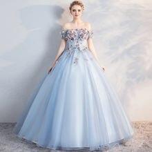 Женское платье с открытыми плечами светло Голубое Бальное рукавом