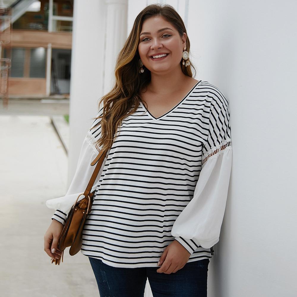 Loose Oversized Plus Size Blouse 2019 Spring Autumn V Neck Lantern Long Sleeve Striped Blouse White And Black Ladies Tunic Tops
