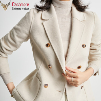 Classic double-breasted blazer double-faced wool coat female short woolen coat high-end white office casual women's clothing