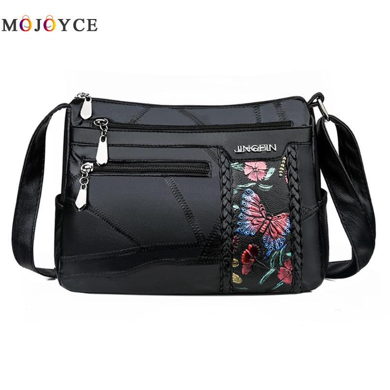 Women Elegant Flower Print Messenger Bag Fashion PU Leather Crossbody Handbag Multi Pocket Ladies Shoulder Bag